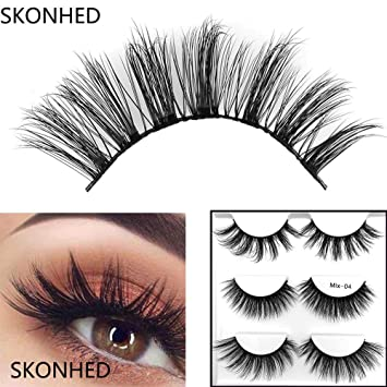 391d9505cae Amazon.com : 3Pairs Mixed Mink Hair False Eyelashes Thick Cross Long Lashes  Wispy Multilayer Fluffy Makeup Tools : Beauty