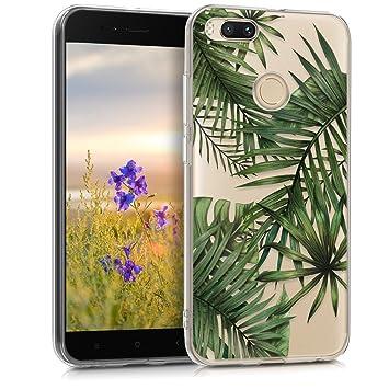 kwmobile Funda para Xiaomi Mi 5X / Mi A1 - Carcasa de TPU para móvil y diseño de palmeras en verde / transparente