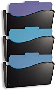 Officemate 2200 Series Executive Wall File, 3 Pack, 13 3/4 x 3 x 19 1/2 Inches, Black (22382)