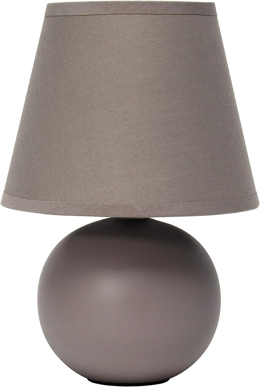 Simple Designs LT2008-GRY Mini Ceramic Globe Table Lamp, Gray