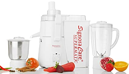 SignoraCare 900 Watts Supermatic 2 Jar Juicer Mixer Grinder -White Juicer Mixer Grinders at amazon