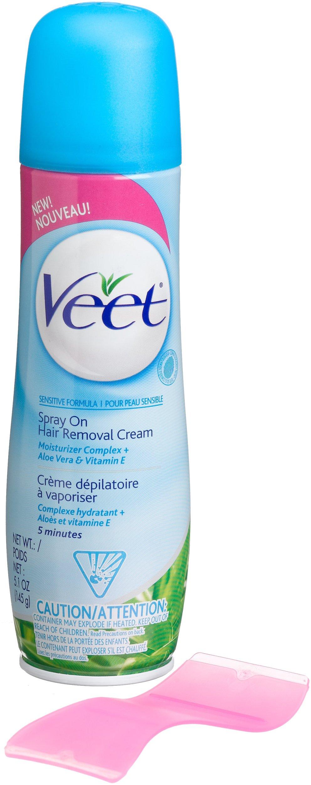 Veet Spray On Hair Removal Cream, Sensitive Formula, Aloe Vera & Vitamin E, 5.1-Ounce Spray Bottles (Pack of 4) by Veet
