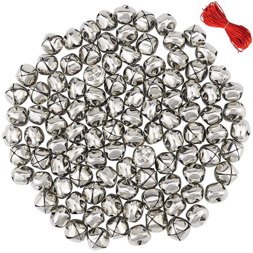 Outuxed 100Pcs 1 Inch Sliver Jingle Bells Christmas Craft Bells for Festival Decoration with 20m Red Cord