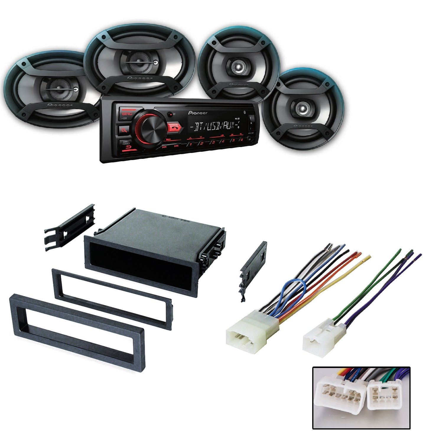 LEXUS TOYOTA SELECT MODELS CAR STEREO RADIO CD PLAYER RECEIVER INSTALL MOUNTING KIT WIRE HARNESS W/ Pioneer DXT-X4969BT CD Player Bluetooth Receiver + 6.5'' & 6''x9'' Speakers Package