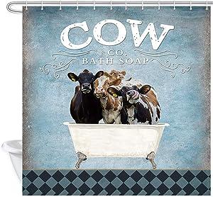 DYNH Rustic Funny Farm Cow in Bathtub Soap Shower Curtain, Farmhouse Calf Cattle Barnyard Animal Shower Curtain, Polyester Fabric Shower Curtain for Bathroom 12PCS Hooks, 69X70IN