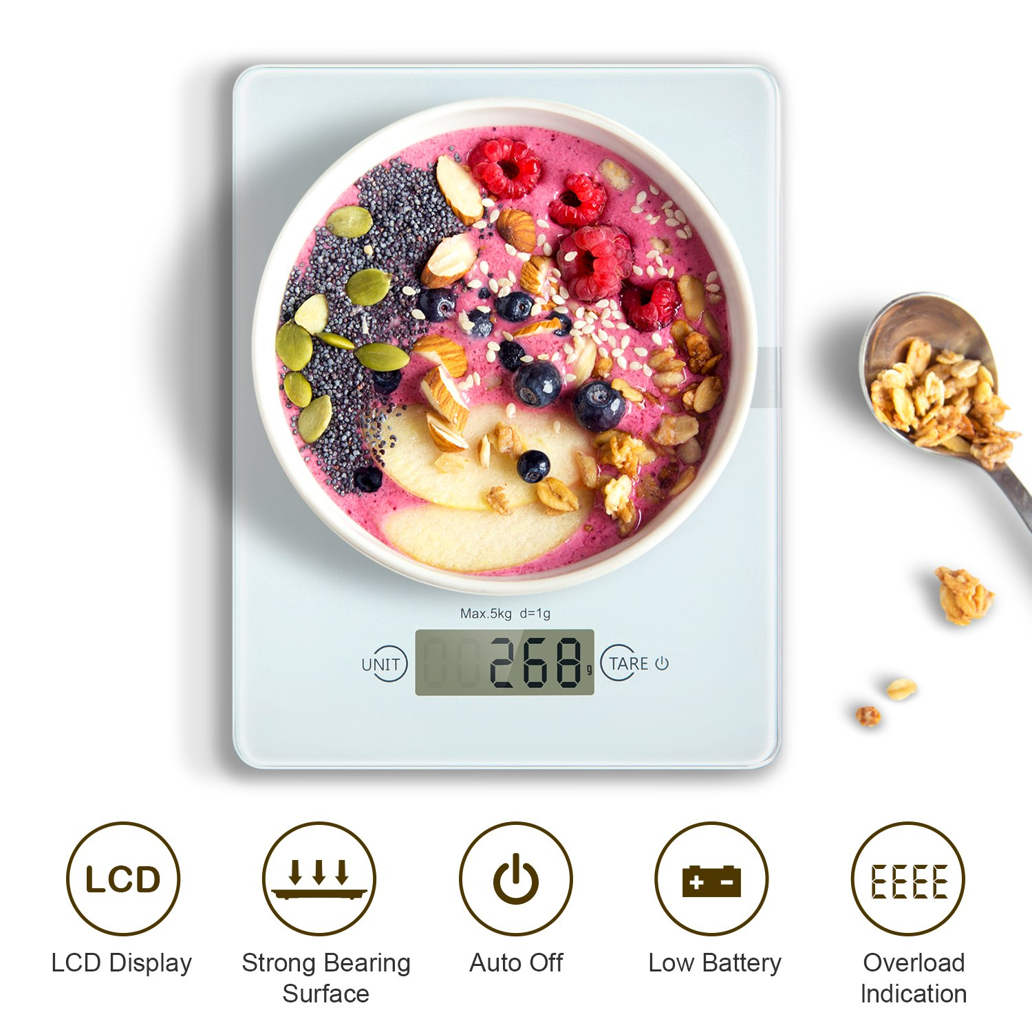 Digital Kitchen Cooking Scales, HAMSWAN Kitchen Food Scale, Weighing Scales, Ultra-Slim, Easy to Clean with Accurate Precision, LCD Display, 4 Units, 11lb 5kg, for Home Baking Diet Cooking