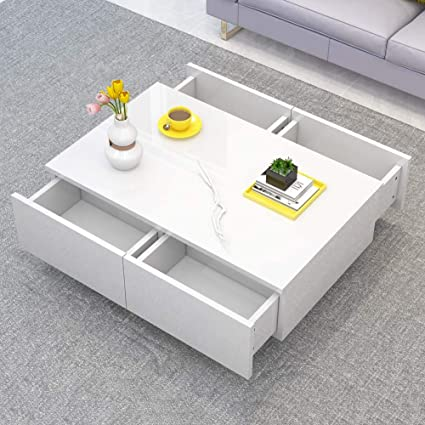 White Gloss Coffee Table With Storage 1