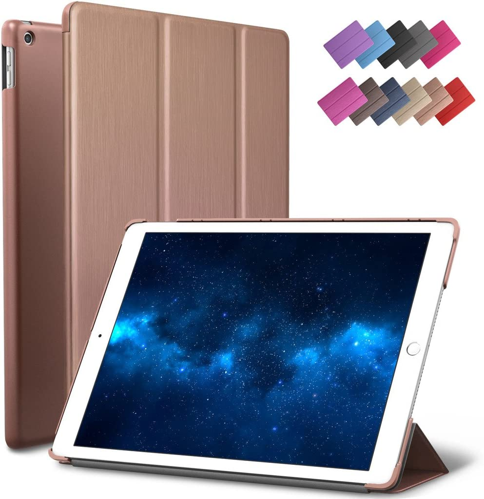 New iPad 9.7-inch 2018 2017 Case, ROARTZ Rose Gold Slim-Fit Smart Rubber Folio Case Hard Cover Light-Weight Wake Sleep for Apple iPad 5th 6th Generation Retina Model A1893 A1954 A1822 A1823