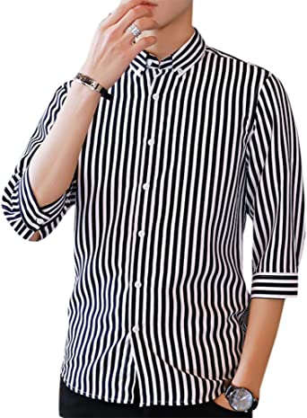 Camisa Casual para Hombre, Camisa de Manga Corta Slim Fit a Media Camisa de Hombre: Amazon.es: Ropa y accesorios