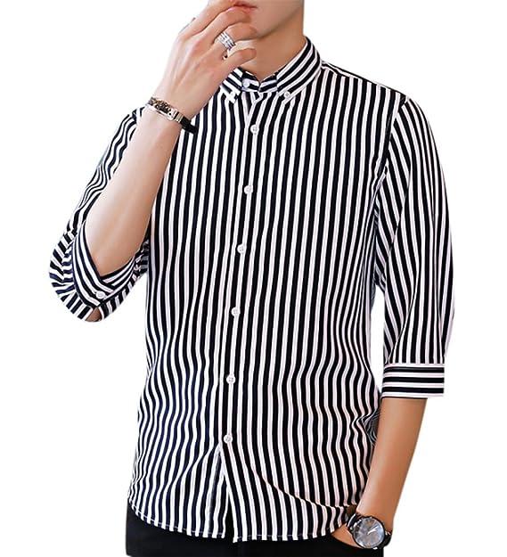 keephen Camisas Formales para Hombres, Camisa de Manga Corta a Rayas de Secado rápido con Media Manga: Amazon.es: Ropa y accesorios