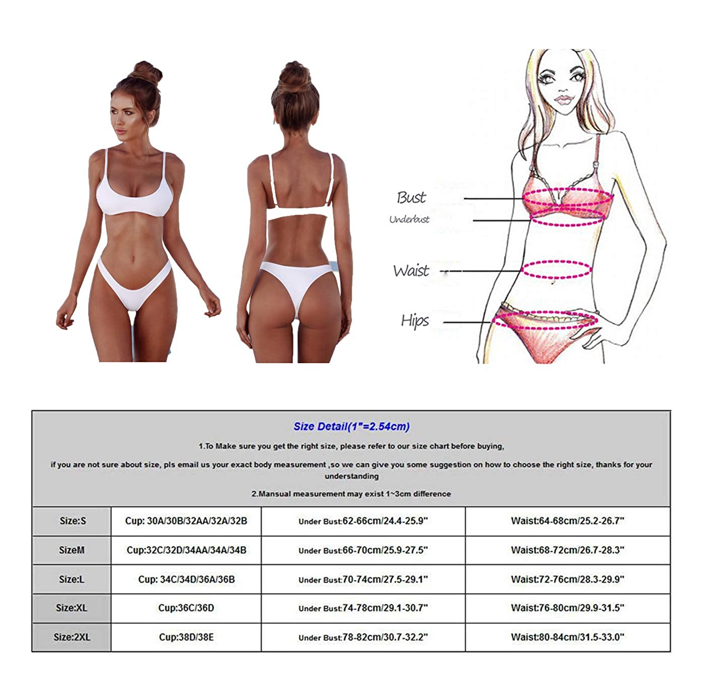 2018 Womens Sexy Color sólido Bikini Brasileño - Tanga Triángulo ...