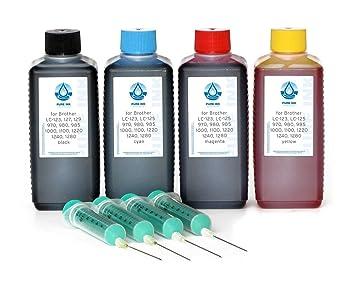 4x100 ml de PureInk Tinta Para Recargar, Tinta De impresora Para Brother LC-121, LC-123, LC-125, LC-127, LC-129, LC-900, LC-970, LC-980, LC-985, ...