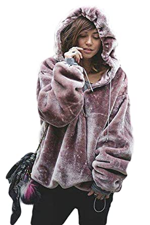 4b6f125b5b Zilcremo Women Autumn Winter Casual Warm Thicken Fleece Hooded Solid  Pullover Sweatshirt Furry Top Purple S