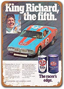 Sisoso 1976 Richard Petty for STP Vintage Tin Signs Cars, Metal Plaques Poster Man Cave Garage Retro Wall Decor 8x12 inch
