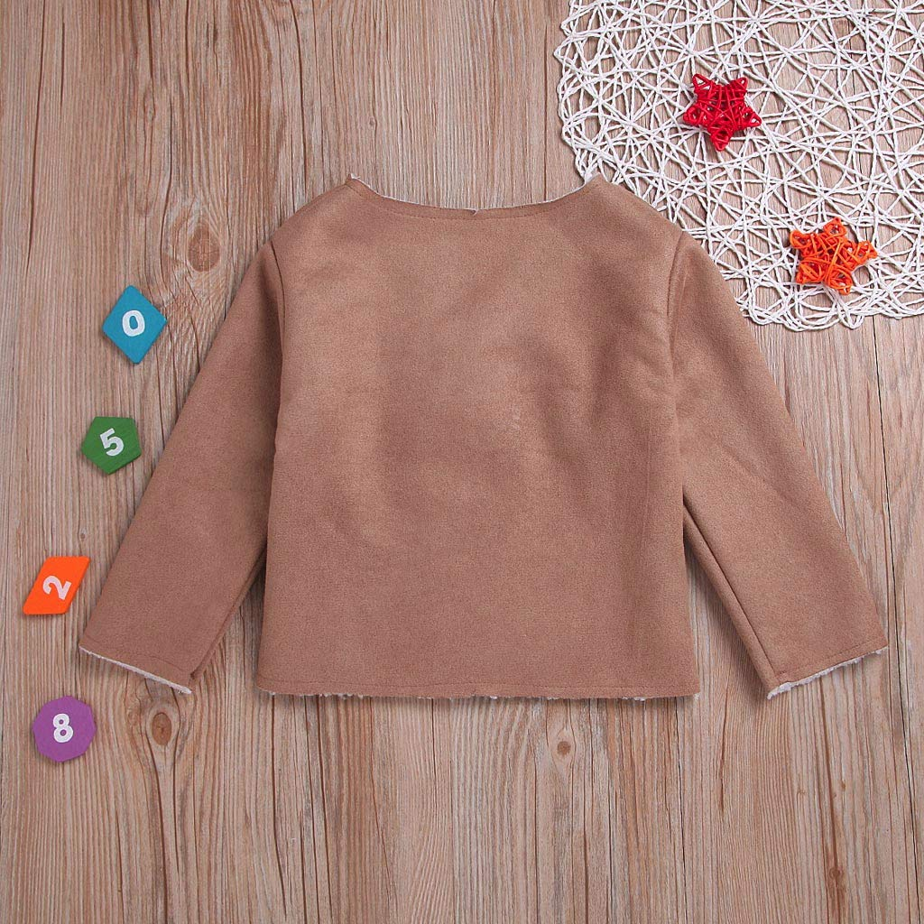 Fineser Infant Toddler Baby Girls Long Sleeve V Neck Warm Fleece Coat Jacket Outwear England Style Clothes Winter 1-4Y