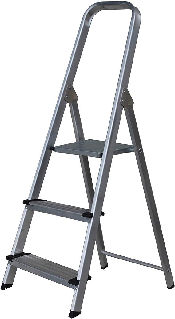 Escalera SUPER de Tijera de Aluminio Peldaño Ancho 12 cm (3 Peldaños con Ancho 12 cm). BTF-TJB303: Amazon.es: Bricolaje y herramientas