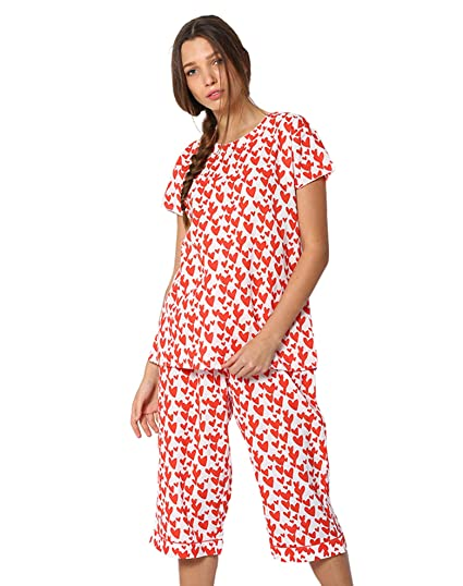 60f88bd63cda1 House of Huggs Women's Cotton Red Cherry Heart Printed 2 Pieces Top and  Cropped Sleepwear Pyjama