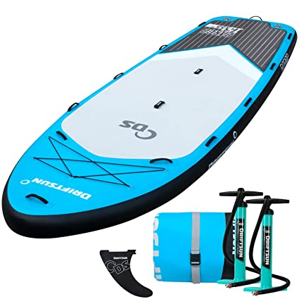 Driftsun Party Barge 15-Foot Inflatable Stand-Up Paddle-Board, Large Multi Person Inflatable SUP with 2 Dual Action Hand Pumps for Quick Inflation, ...