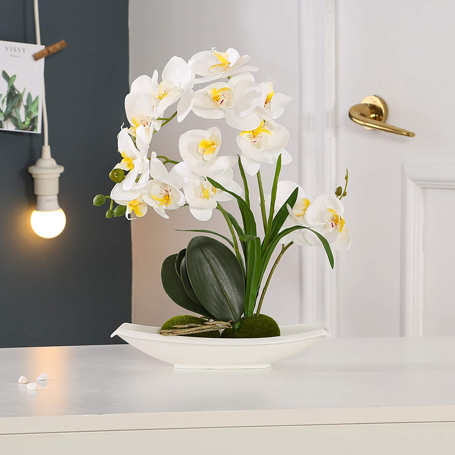 KINBEDY Artificial Bonsai Silk Orchids Phalaenopsis with Vase Home Office Decoration Party Wedding Decor, White.