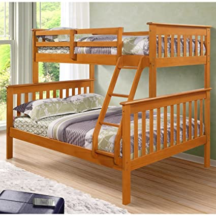 Amazon Com Donco Twin Over Full Mission Bunk Bed Fixed Ladder Honey