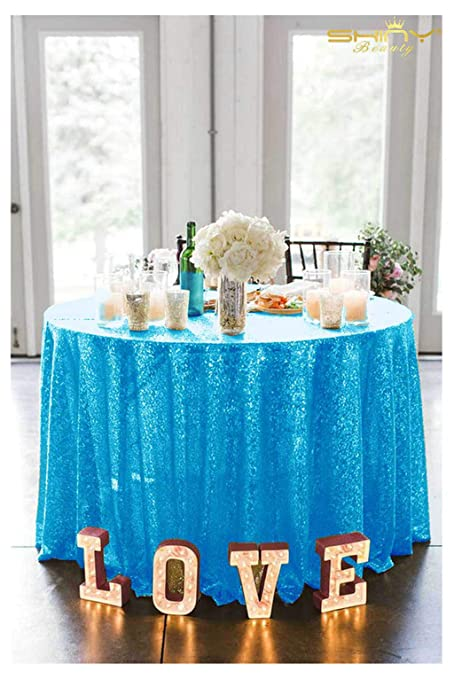 ShiDianYi Aqua Tablecloths 108u0027u0027 Shimmer Turquoise Table Cloth Twinkle  Twinkle Little Star Decorations ~