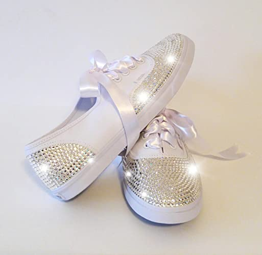 Womens White Vans Origional, Womens Wedding Shoes, Bridal Sneakers, Bling Bridal  Shoes,