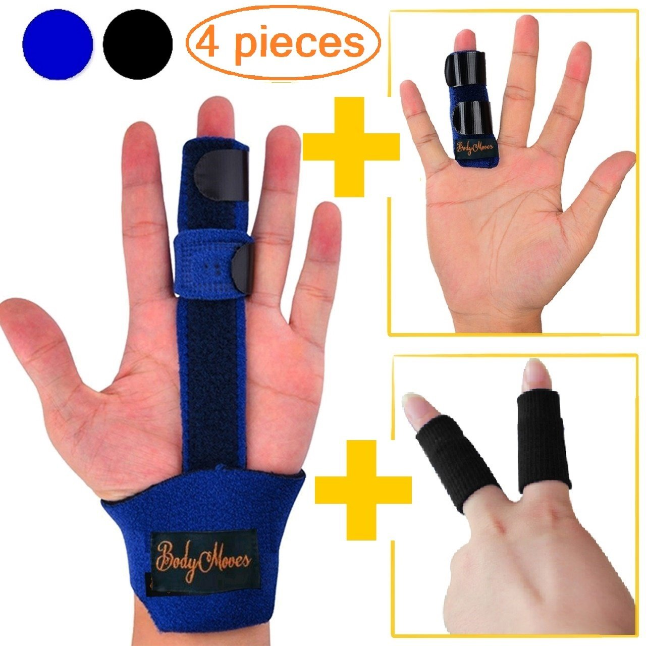 BodyMoves Finger Splint Plus Finger Extension Splint for Plus Nylon Sleeves Trigger Finger Mallet Finger Broken Finger Rheumatoid Arthritis Post Operative Finger Brace stabilizer Tenosynovitis