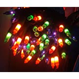 Halloween String Lights, 100 Bulb, Multi Color on Black Wire