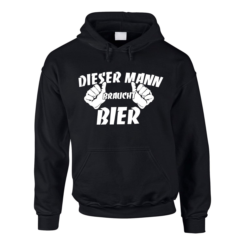 Shirtdepartment Hoodie Dieser Mann braucht Bier Kapuzenpullover Fun Pullover Beer
