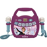 LEXIBOOK- Disney Frozen 2 - Reproductor de música de Karaoke portátil para niños - Micrófonos, Efectos de luz, Bluetooth…