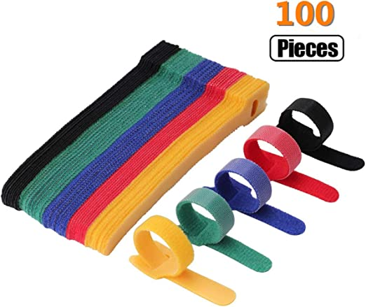 "6/"" Cable Ties Straps Reusable Hook Loop Wire Ties  100pcs 5 Colors"