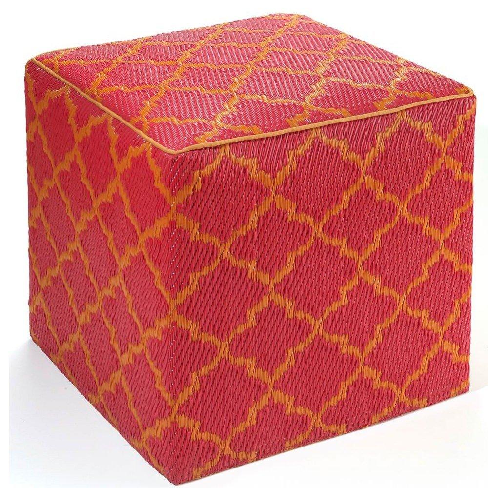 amazoncom fab habitat tangier cube pouf carrot u0026 white patio ottomans patio lawn u0026 garden