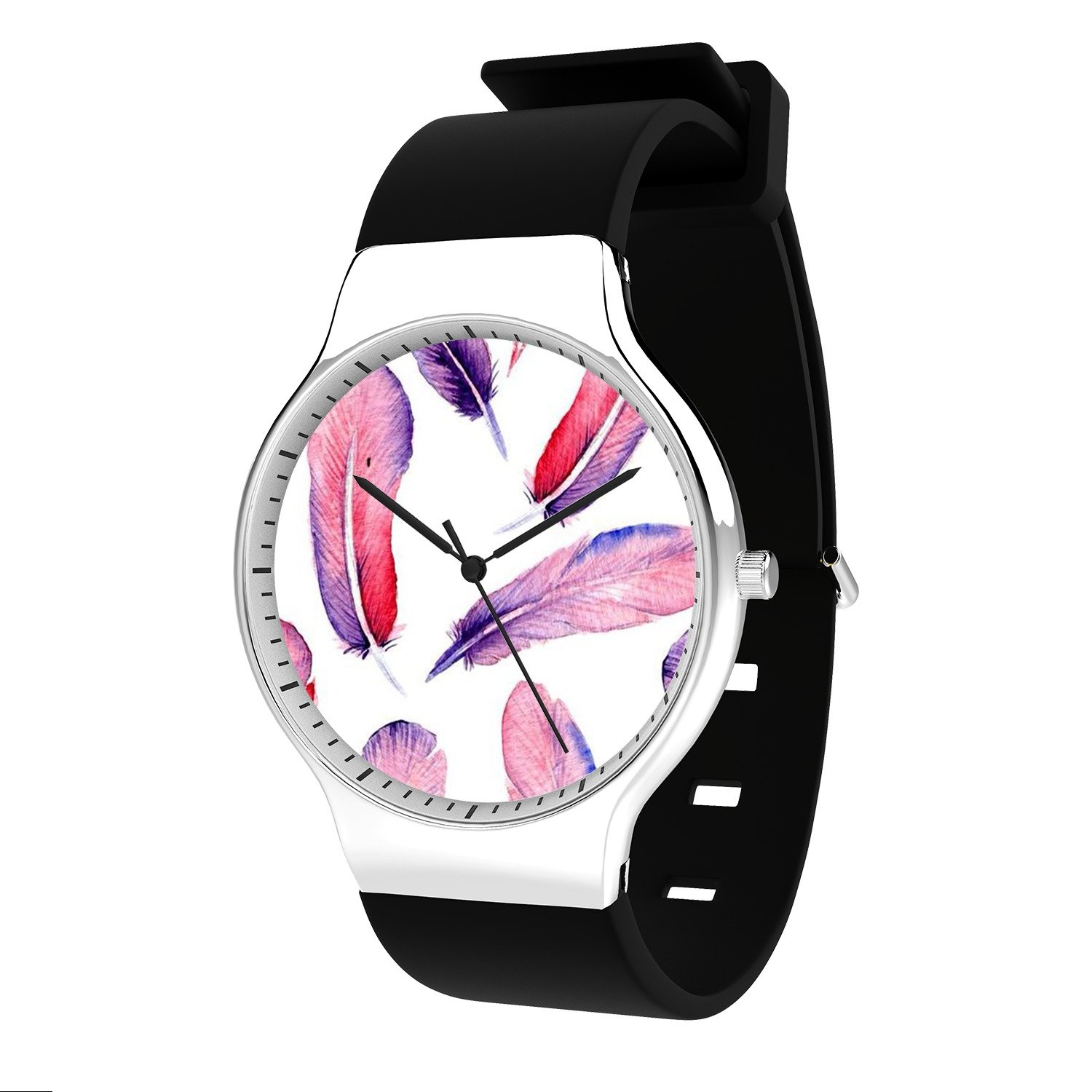 FELOOWSE Feather Watercolor Pink Watch Men's Quartz Watches, Minimalist Slim Japanese Quartz Youth Silicone Watches, Fashion PracticalWaterproof Boys Watch Customized Watches
