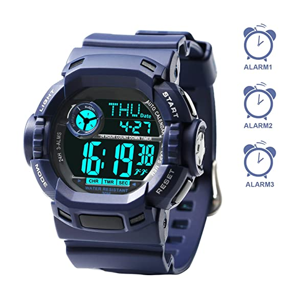 3 varios alarmas Kids Relojes al aire libre natación temporizador deportes reloj de pulsera digital resistente al agua para niño niña infantil: Amazon.es: ...