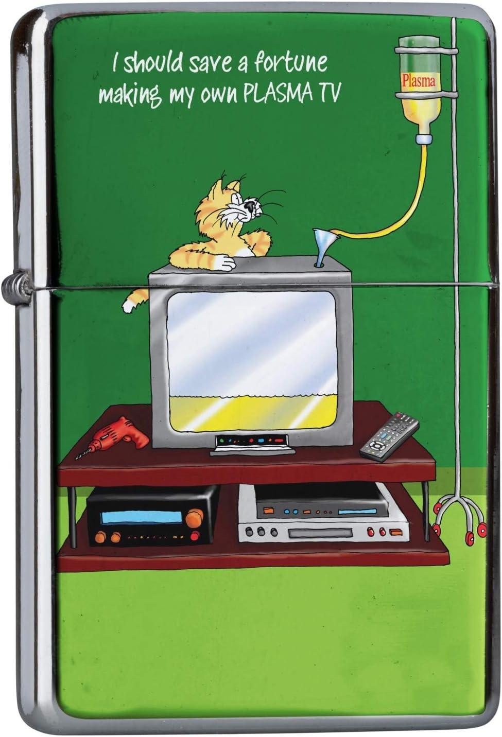 Encendedor Cromo De Gasolina Recargable Dibujos Animados TV de plasma: Amazon.es: Deportes y aire libre