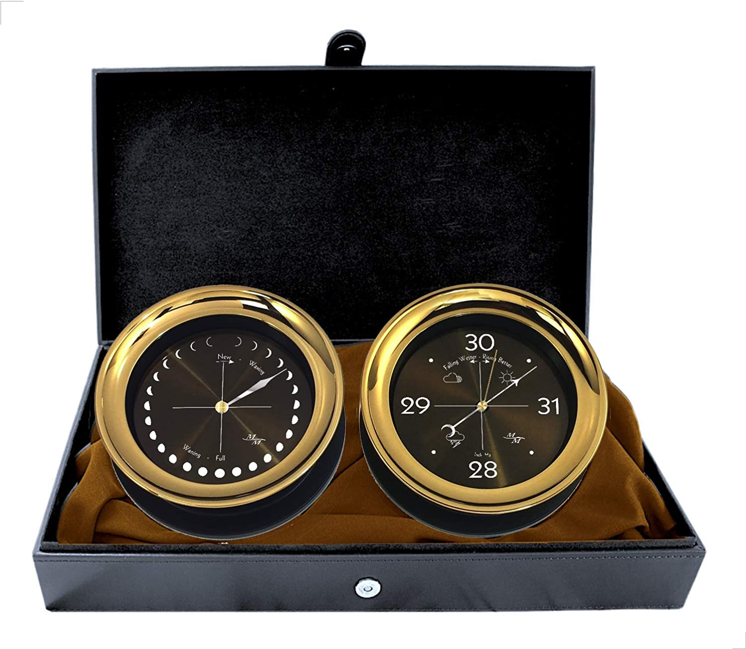 """Image of Barometers Master-Mariner Halo Collection Gift Set, 5.85"""" Diameter Moonphase Clock and Barometer Instruments, Gold and Black Two Tone Finish, Midnight Gold dial"""