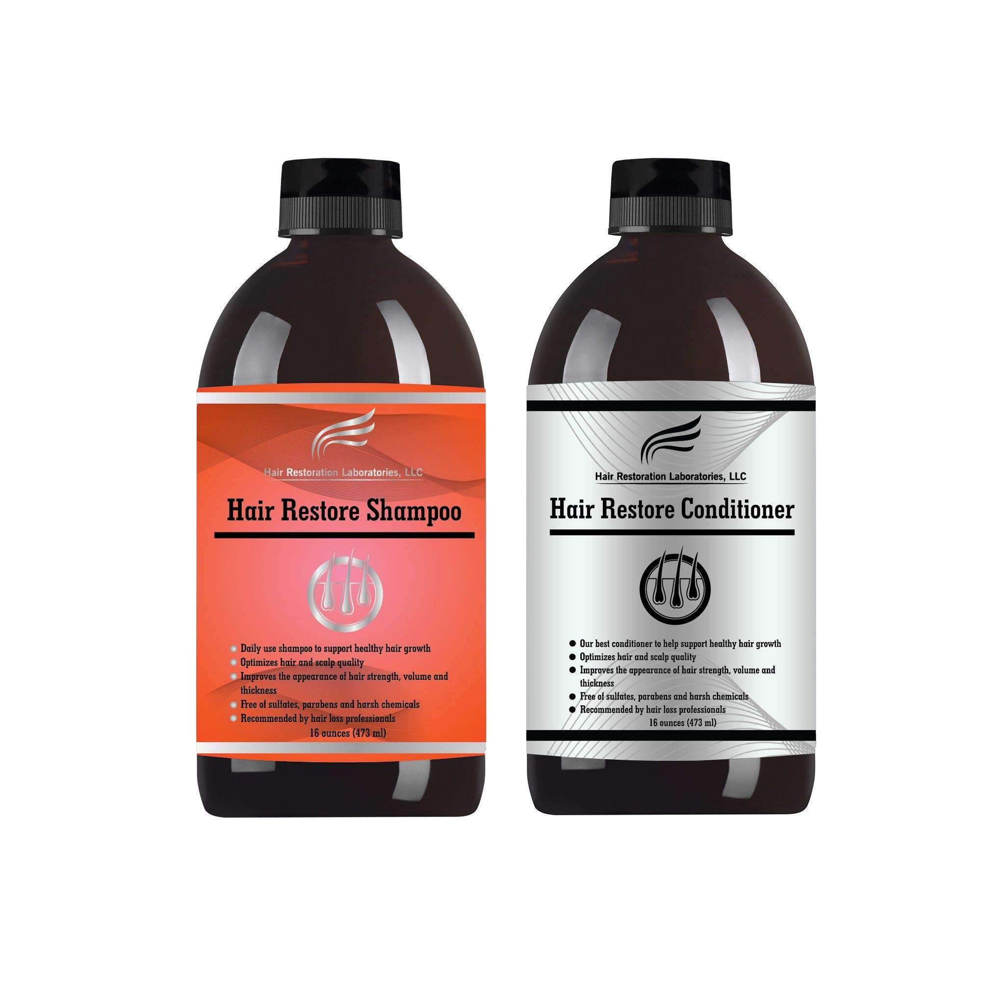 Hair Restoration Laboratories Hair Restore Shampoo and Conditioner Set, DHT Blocker to Prevent Hair Loss, Sulfate Free, Effective Daily Use Hair Thickens Thinning Hair for Men and Women, 16 oz