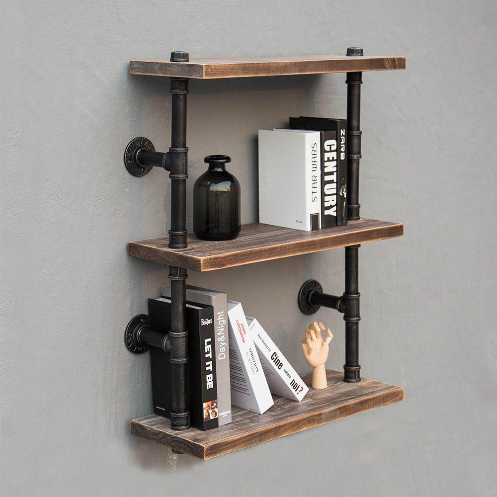Industrial Wood And Metal Pipe Bookshelf3 Tier Shelf Brackets DIY Storage Shelving Bookshelf