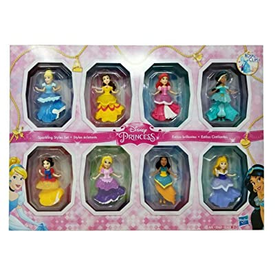 Disney Princesses Sparkling Styles Small Doll Set of 8 Featuring Royal Clips: Toys & Games