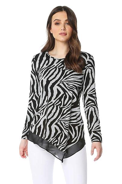 58391164bf70ac Roman Originals Zebra Print Chiffon Hem Top - Ladies Animal Print Blouse  for Formal Parties Gatherings Special Occasions Summer Holiday Work Animal  Print ...