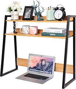 Desktop Bookshelf Wooden Bookcase ,X-cosrack Computer Desk Bookshelf Hutch Storage Organizer Shelves Rack for Office Supplies Organizer, Home Decor 2-Tier Brown