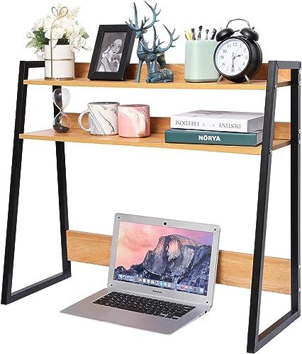 Desktop Bookshelf Wooden Bookcase ,X-cosrack Computer Desk Bookshelf Hutch Storage Organizer Shelves Rack