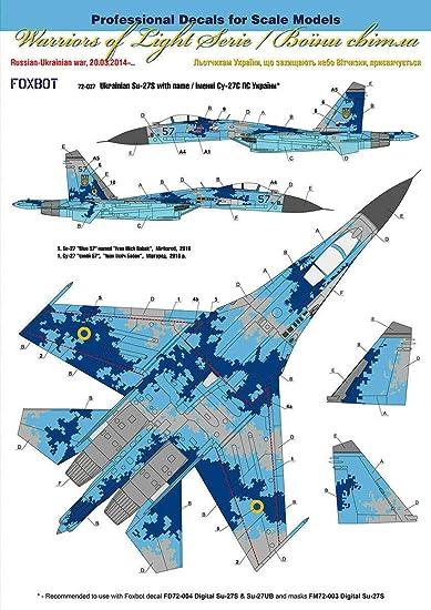 Amazon.com: ECALS SUKHOI SU-27 con nombre 1/72 escala Foxbot ...