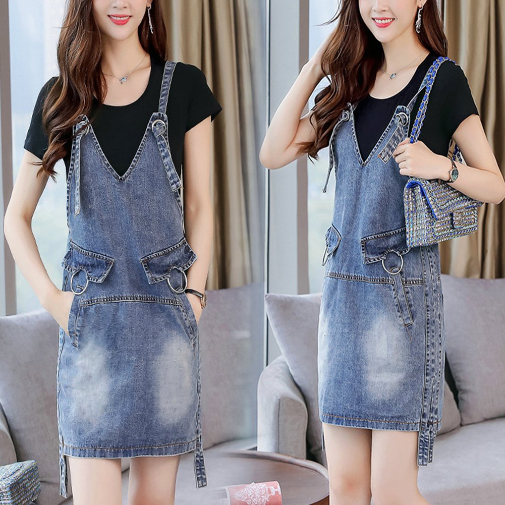 Meiyiu Women Stylish Denim Skirt Shoulder Strap Suspender Skirt Casual Daily Wear Outfits Gift Denim Blue (Single Skirt) XXL by Meiyiu (Image #5)