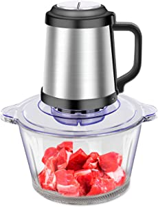 Electric Food Chopper-Food Processor-Meat Grinder 2L Glass Bowl- 300W Food Grinder Machine for Meat Vegetable Fruit Onion Garlic Spices (2L)