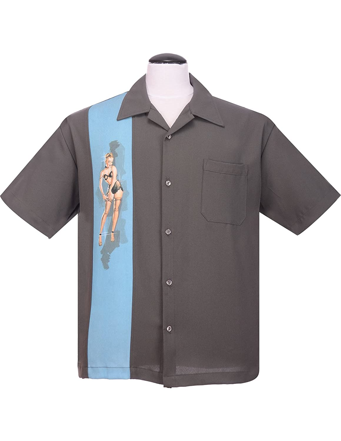 1950s Style Mens Clothing Steady Pinup Grey Girl Bowling Camp Lounge Shirt Retro 1950s 50s One Panel $46.00 AT vintagedancer.com