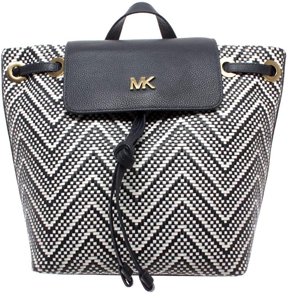 Michael Kors Junie Chevron Leather Flap Backpack Navy White