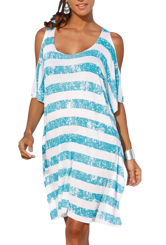 bluee Stripe Upopby Women's Striped Loose Kaftan Bikini Swimsuit Beach Cover Up Dress