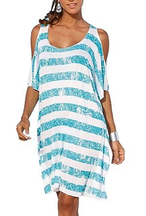69e3a39b08f Upopby Women s Striped Loose Kaftan Bikini Swimsuit Beach Cover Up Dress  Blue S
