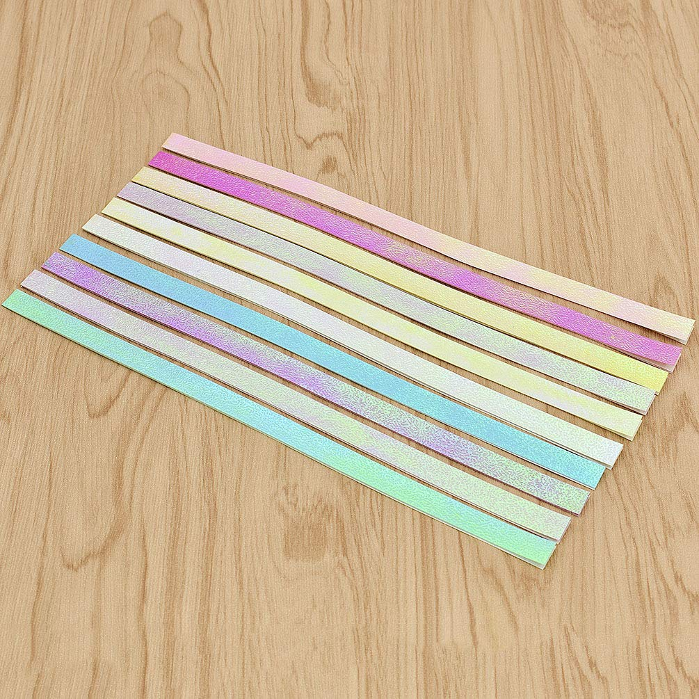 Kesheng 50pcs Origami Lucky Star Paper Stripes Single Sided 24.7cm x 1.2cm 5 Assorted Colors